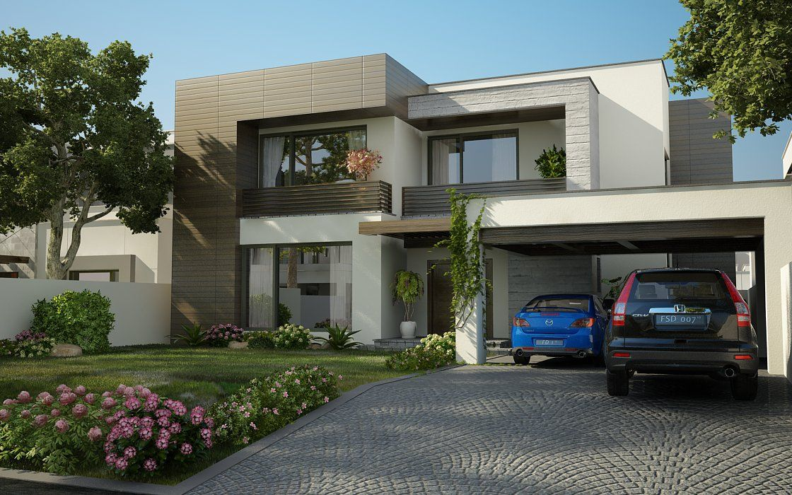 3d front valancia modern contemporary house for Elevation design photos residential houses