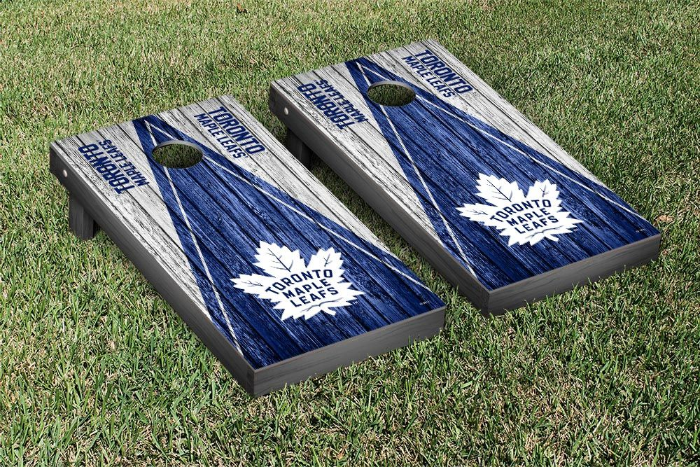 Toronto Maple Leafs NHL Cornhole Boards Triangle Weathered