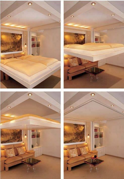 This can be a real option for a small house, nice to not have to climb a ladder to a loft, just lower the bed!