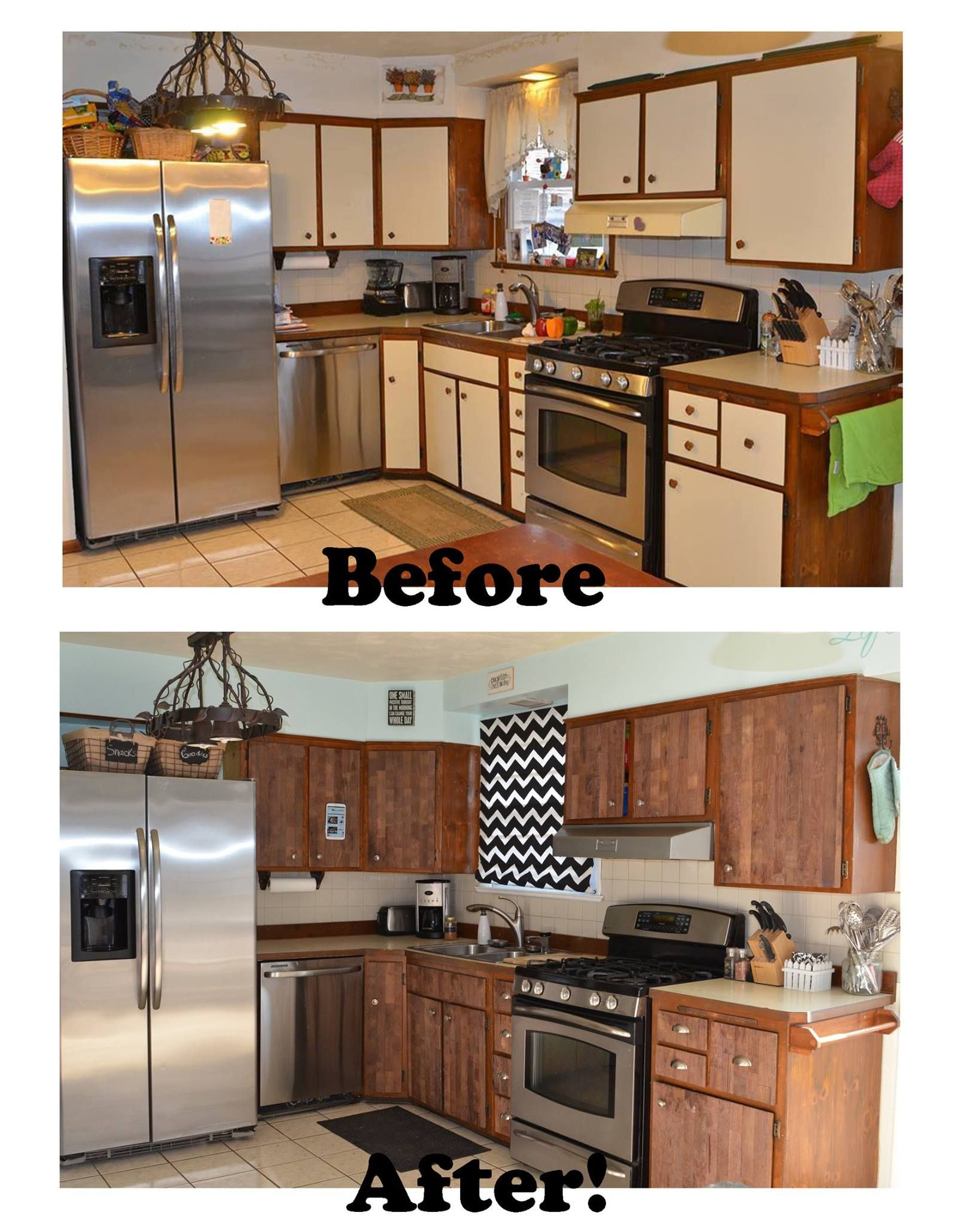 Stikwood before and after kitchen makeover ugly laminate for Kitchen cupboard makeover before and after