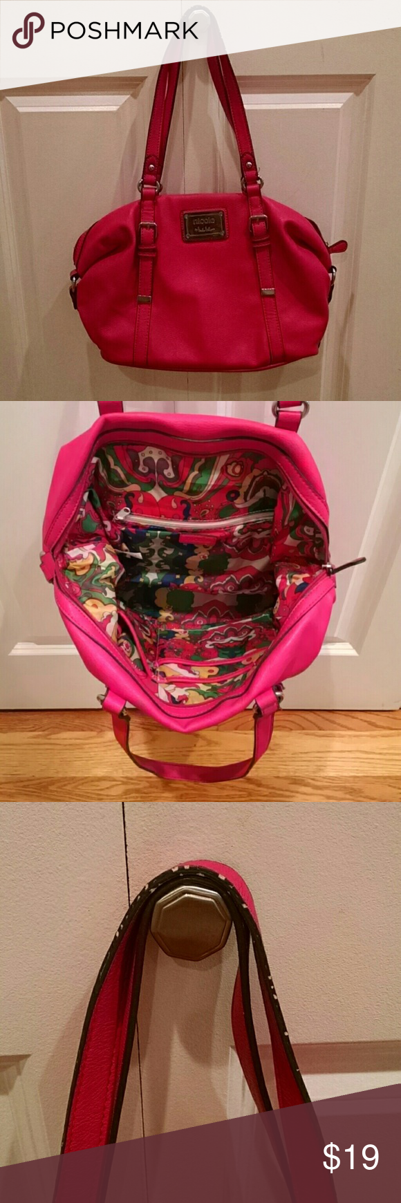 """Pink Nicole Miller bag Beautiful, pink bag with silver hardware. Lots of room and only marks are on one of the handles, see pic. Approx 16""""Lx10""""H Nicole Miller Bags Shoulder Bags"""