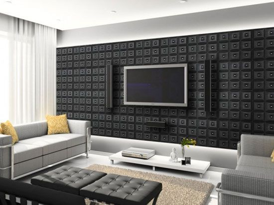 decorative ceiling tiles in living and dining rooms or for a home theater wall in black - Decorative Drop Ceiling Tiles