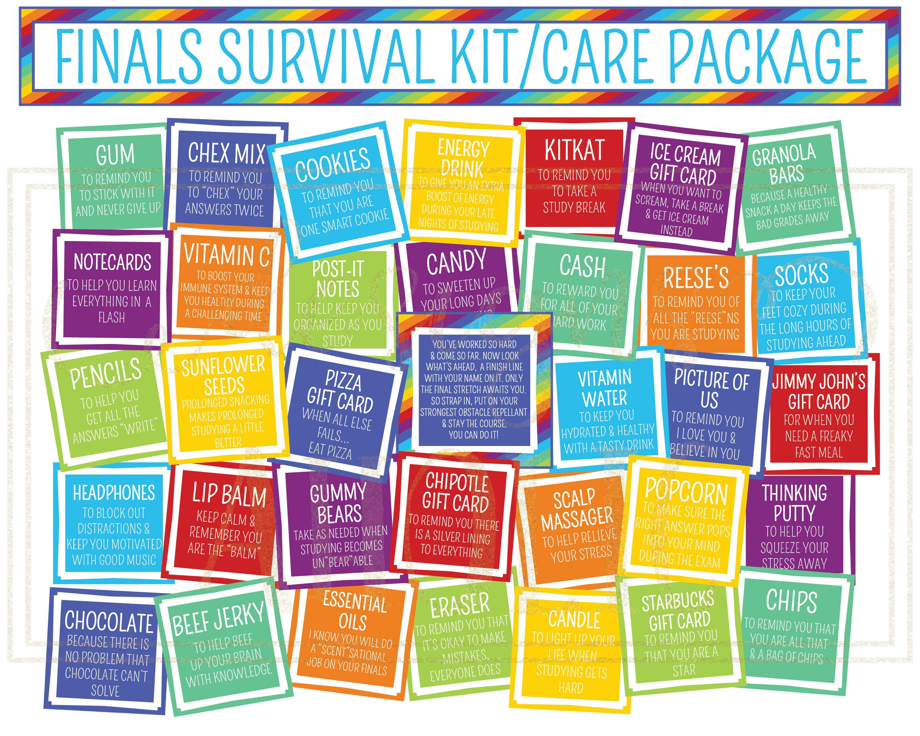 Finals Survival Kit Or Care Package Printables