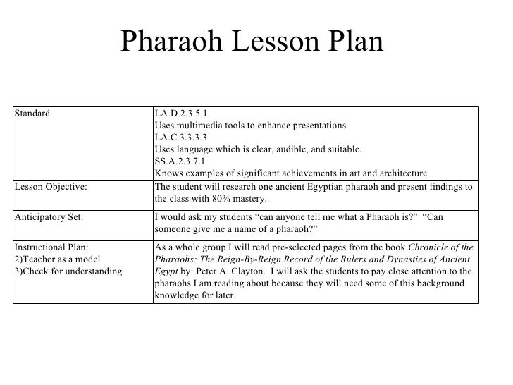 Pharaoh Lesson Plan Standard LaD Uses Multimedia Tools To