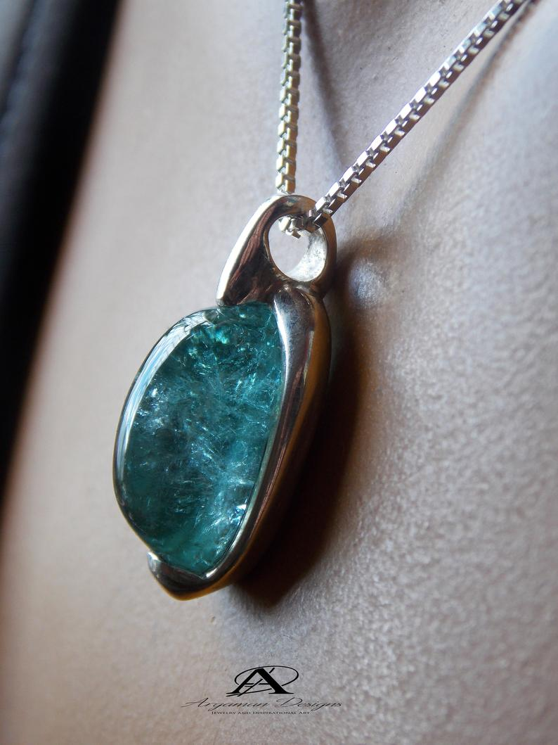 Turquoise Stone Jewelry Minimalist Jewelry  Stone Pendant Jewelry Silver Gift Pendant Necklace Natural Jewelry Handmade Jewelry