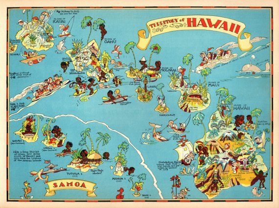 1930 S Vintage Hawaii Picture Map State Cartoon Map Print Samoa