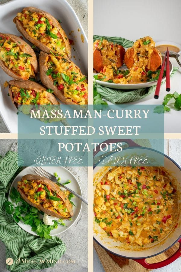 Massaman Curry-Stuffed Sweet Potatoes This Thai massaman curry-stuffed sweet potato dish is your perfect side for any Thai meal, with its swoon-worthy aromatic coconut milk sauce. It's great for those evenings you want a hearty, easy dinner, too. Pin this with your International Recipes! A Meal In Mind @amealinmind