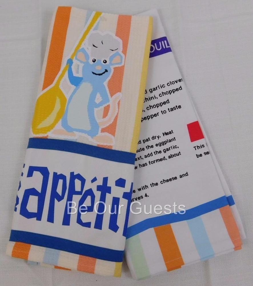 Disney Parks Bon Appetite Ratatouille Remy Kitchen Dish Towel Set ...