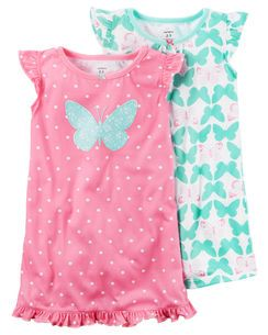 8bf2d8aaf5 2-Pack Sleep Gowns Toddler Pajamas