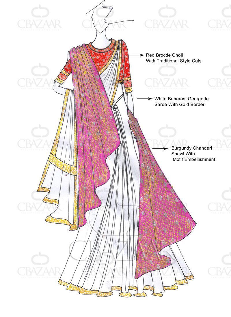 DIY Bajirao Mastani Inspired White Saree With Shaw   waleema brides ...