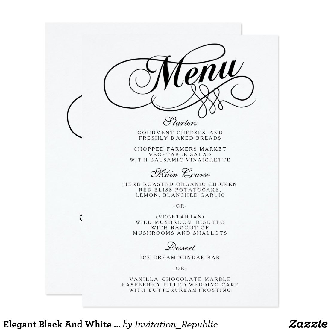Elegant Black And White Wedding Menu Templates  Wedding Menu