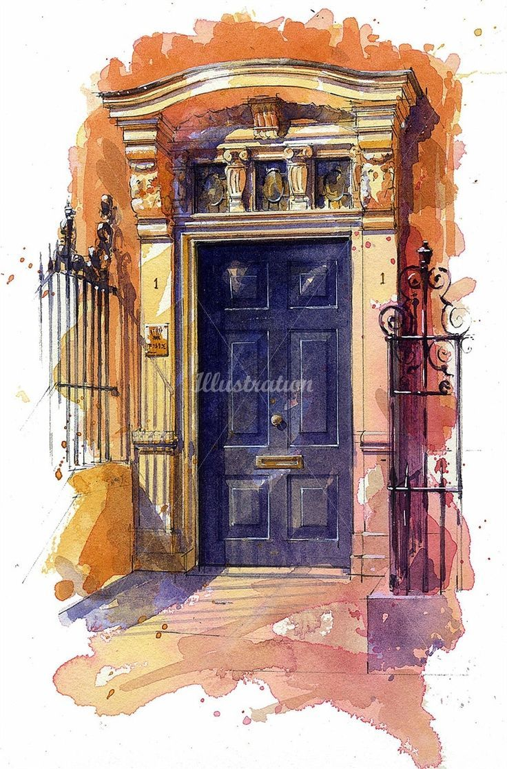 Image Result For Watercolor Door Watercolor Architecture