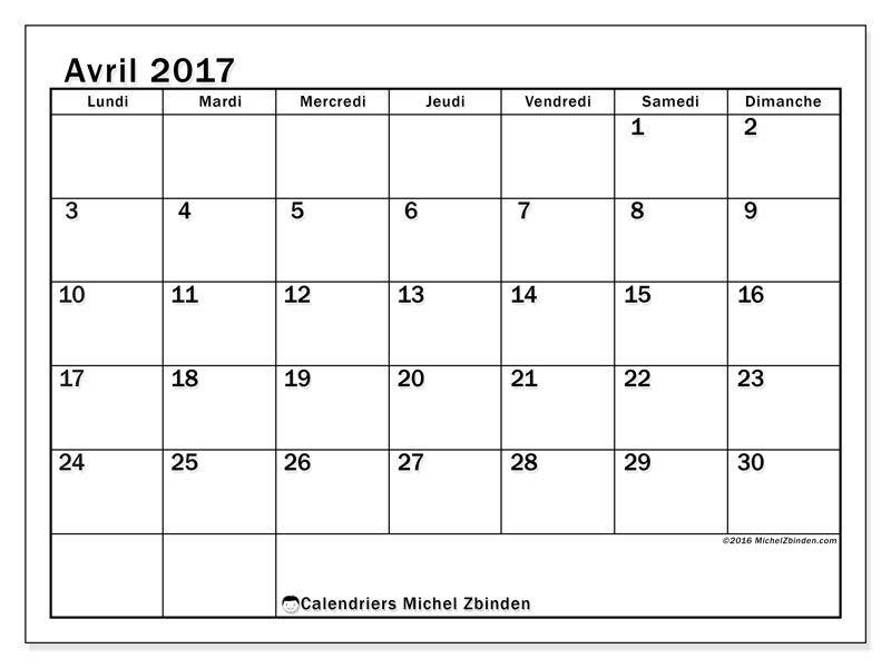 Calendrier avril 2017 imprimer gratuit calendrier mensuel tiberius l la semaine - Calendrier lunaire rustica avril 2017 ...