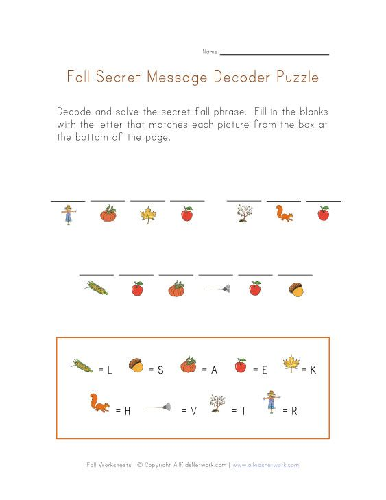 autumn secret word puzzle | Projects to Try | Pinterest
