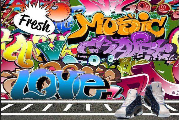 hip hop pop style party photography backdrop graffiti wall themed
