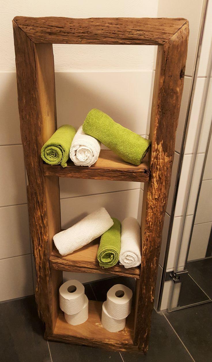 Bildergebnis für holzregal bad  Badezimmer regal holz, Badezimmer