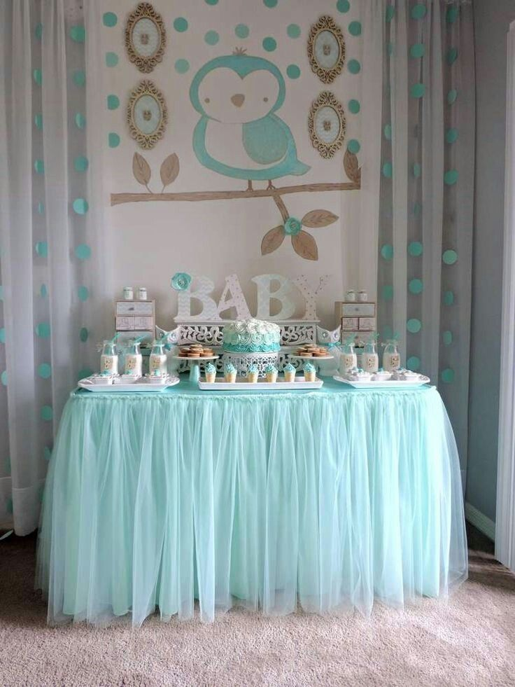 I Like The Tulle For The Table Cloth Baby Shower Table Decoration Ideas Owl Baby Shower Baby Boy Shower Baby Shower Themes