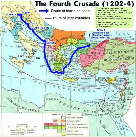 Route of fourth crusade byzantine empire one of the greatest explore the crusades historical maps and more gumiabroncs Gallery