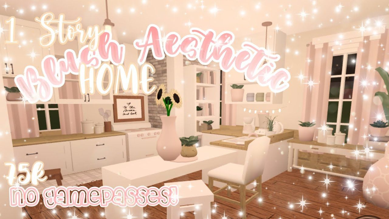1 Story Blush Aesthetic Home No Gamepasses Bloxburg Speedbuild House Decorating Ideas Apartments Two Story House Design Tiny House Layout