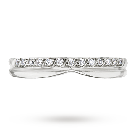 For Her Las Diamond Set Shaped Wedding Ring In 18 Carat White Gold