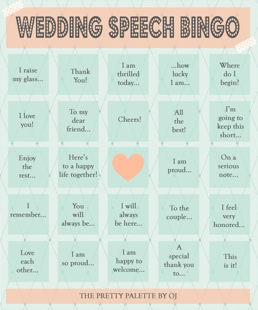 Bride Wedding Speech Ideas: Wife Of A Gentle Giant: Wedding Speech Bingo