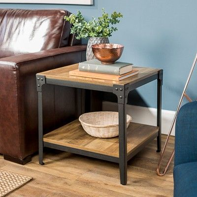 angle iron rustic wood end table set of 2 rustic oak saracina rh pinterest com
