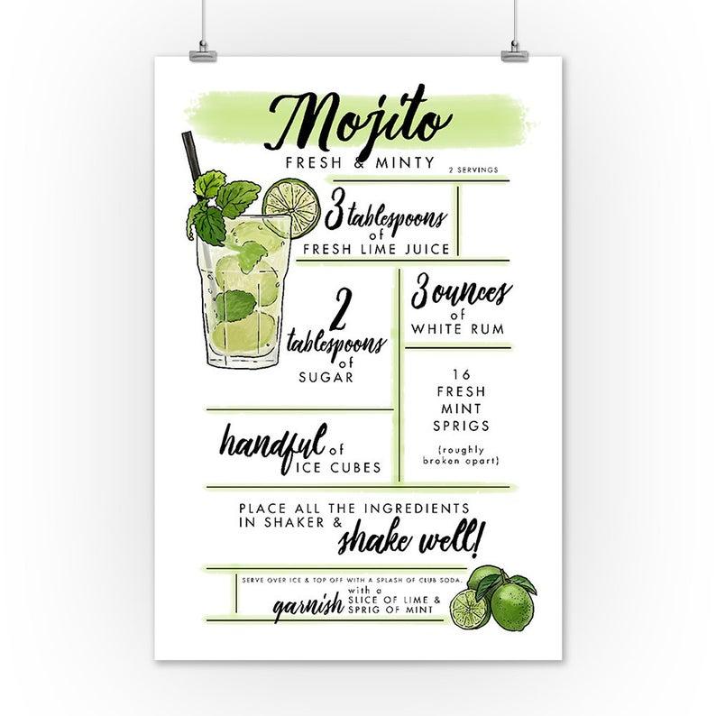 Mojito Cocktail Recipe 6 Sizes Art Prints Giclee Posters Etsy Mojito Mojito Cocktail Cocktail Recipes