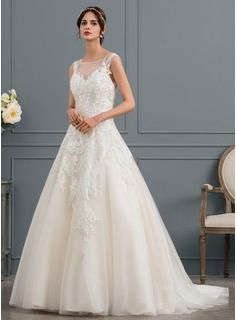 9e209c086dd Ball-Gown Princess Illusion Court Train Tulle Wedding Dress With Beading  (002145317)