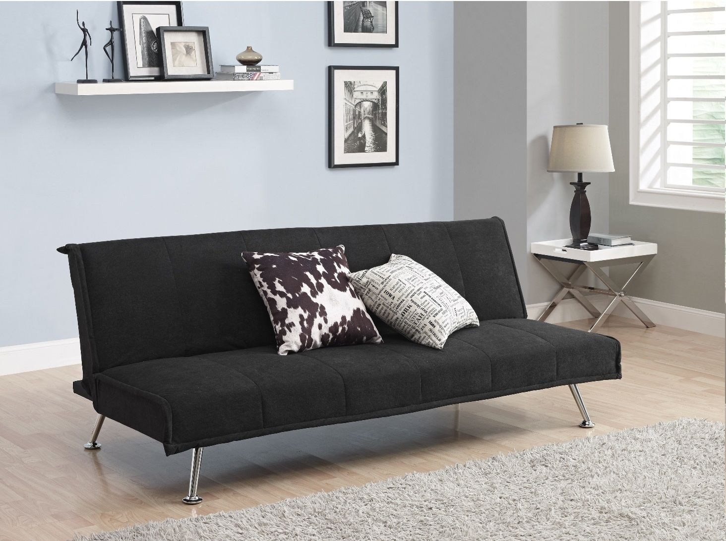 black leather living room furniture sets%0A      comfortable futon sofa bed ideal choice for modern homes