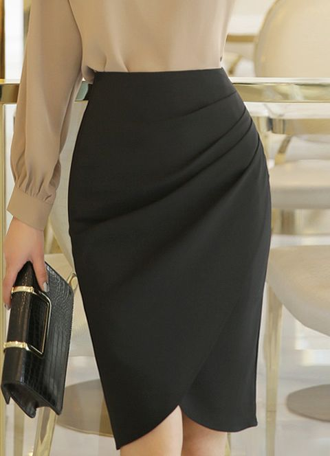 532623c50 Shirred Wrap Style Pencil Skirt | faldas | Falda modelo, Vestidos ...