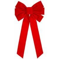 Deluxe medium 6 loop red flock bow with center loop. 10'' x 22''