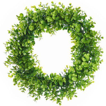 Photo of Coolmade Artificial Green Leaves Wreath – 15″ Fake Eucalyptus Wreath Outdoor Green Wreath for Front Door Wall Window Party Décor – Walmart.com