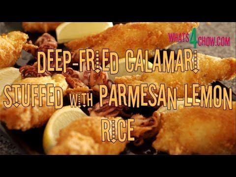 Crispy Deep Fried Calamari Stuffed With Parmesan Lemon Rice Crisp