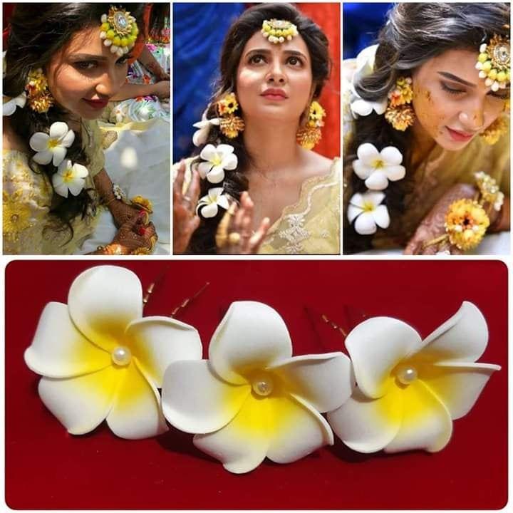 Wedding Hairstyle Juda: Hair Pins Haldi And Bridal Hair Accessories Indian Wedding