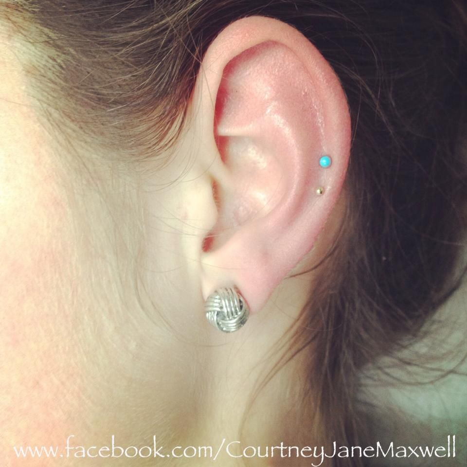 Cartilage Piercings With Super Tiny 14k Yellow Gold Bead  By Bvla,
