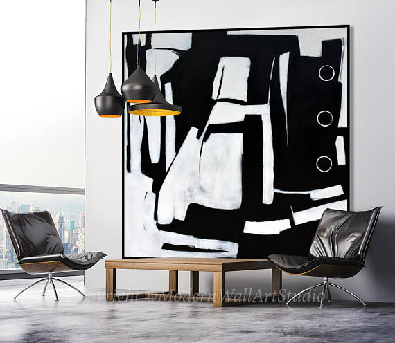 Goede Extra Large Handmade Abstract Painting Black and White Minimal Art KM-45