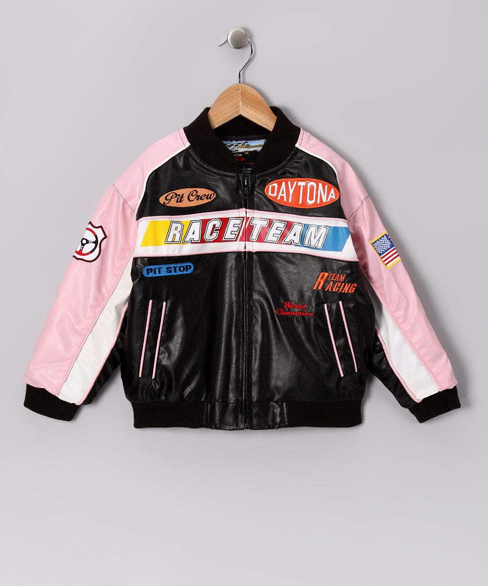 e4e26085bf56 Attention NASCAR Fans! Pink   Black Racing Jacket - Toddler   Girls ...