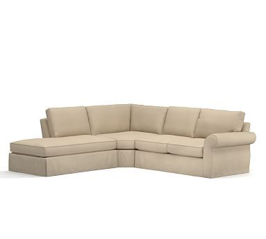 Pearce Slipcovered Right 3-Piece Bumper Wedge Sectional, Down Blend Wrapped Cushions, Twill Parchment