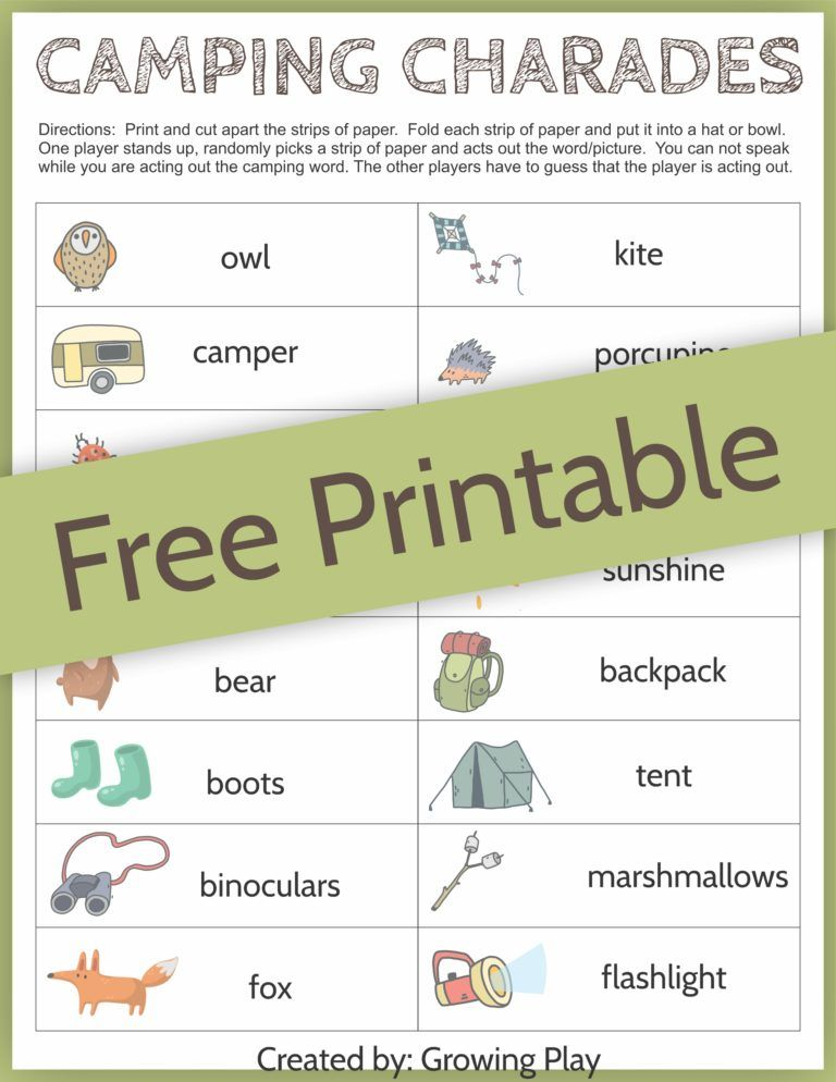 camping charades game for kids free printable camping retreats rh pinterest com
