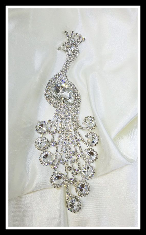 Hey, I found this really awesome Etsy listing at https://www.etsy.com/listing/244586486/rhinestone-peacock-applique-0187