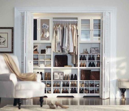 Organized closet space.