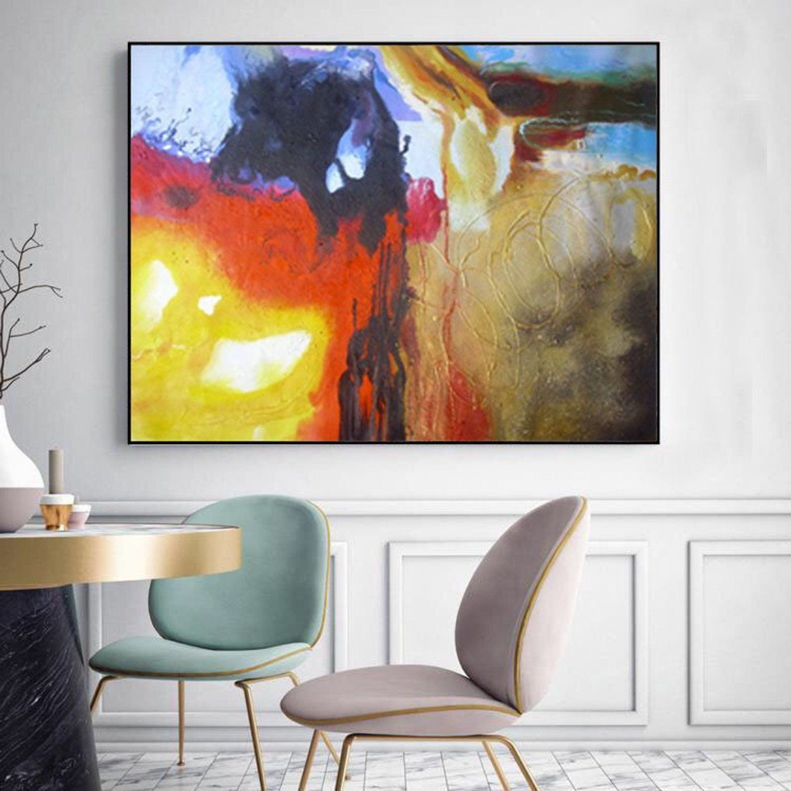 Large Contemporary Abstract Painting On Canvas Colorful Wall Art