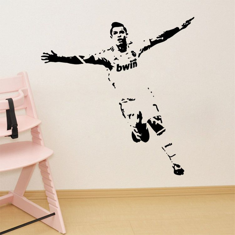 Charming Soccer Wall Sticker Football Player Decal Sports Decoration Mural For Boys Kids  Room Decor Free Shipping