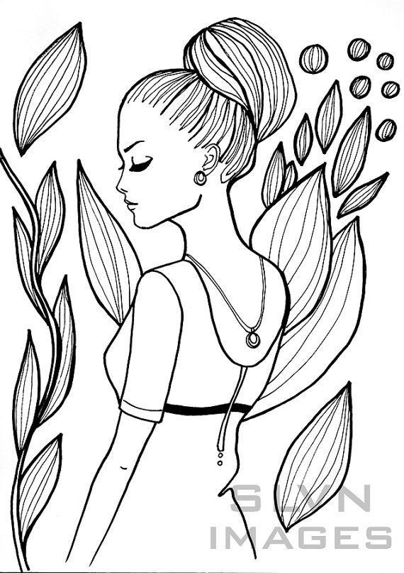 Summer fashion girl printable coloring page Instant download