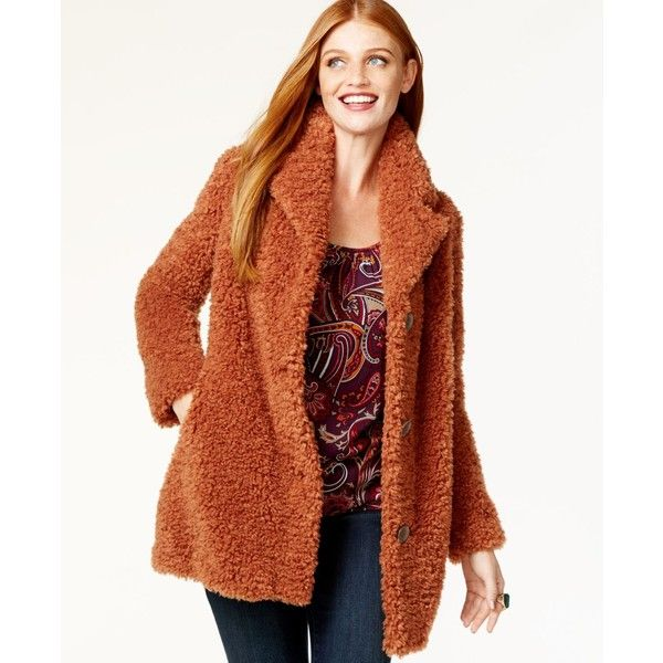 Vakko for Inc Faux-Fur Button-Front Coat ($162) ❤ liked on Polyvore featuring outerwear, coats, brick, brown coat, faux fur coats, inc international concepts coat, imitation fur coats and fake fur coats