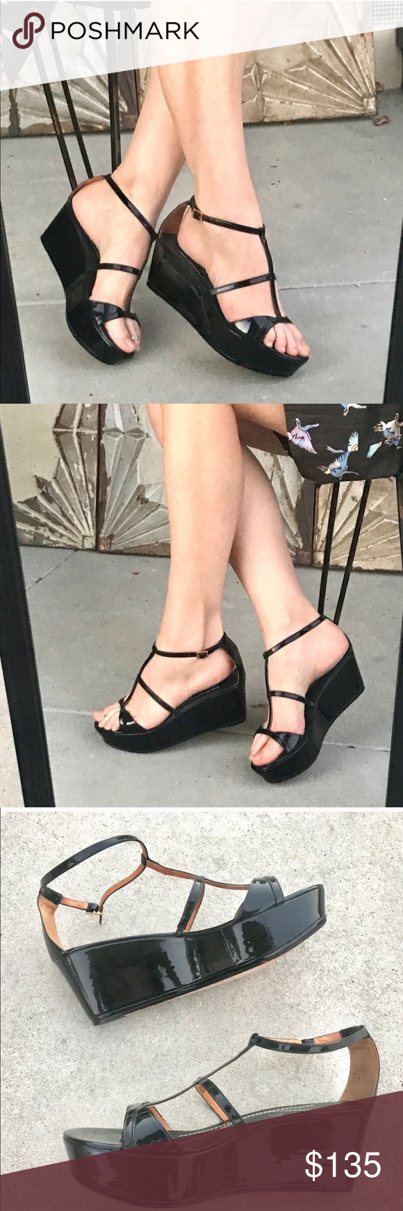 Kate Spade Black Platform Sandals Wedge Heels 8 5 Black Platform Sandals Kate Spade Black Kate Spade Shoes Wedges