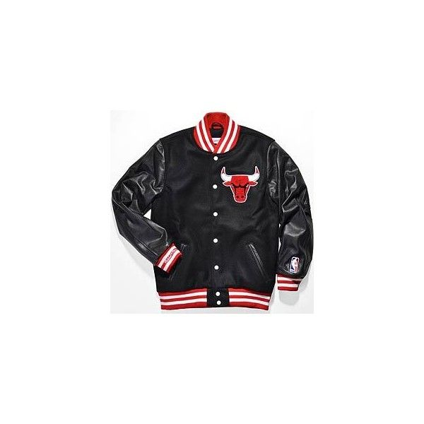 mitchell and ness VARSITY JACKET CHICAGO BULLS ($640) ❤ liked on Polyvore  featuring outerwear