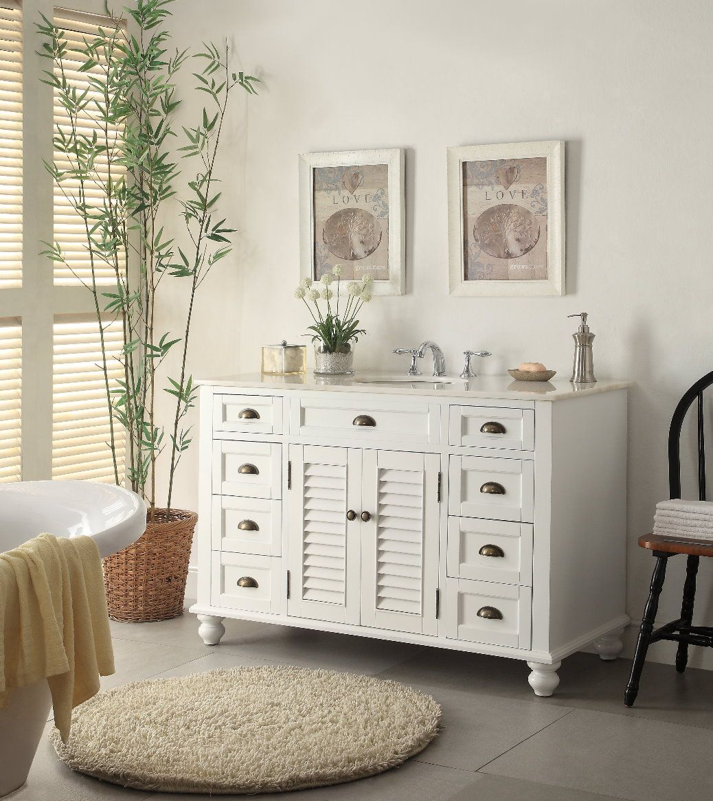 diy distressed bathroom vanity%0A The plantationinspired look of this cottagestyle sink cabinet will add  casual elegance    Antique Bathroom