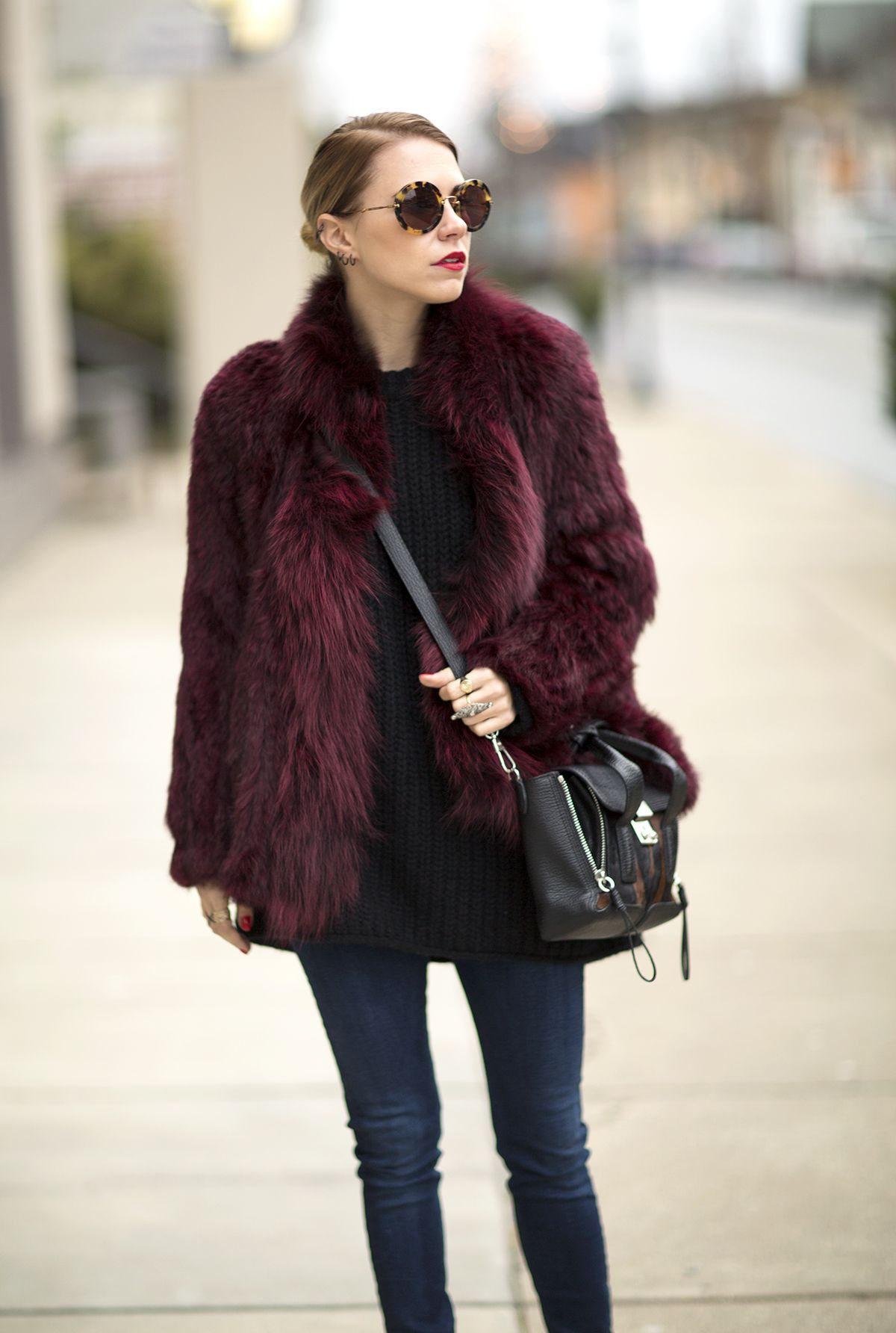 Chic and fun. Fake fur jacket with black basics. #casual wear ...