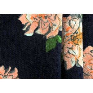"Heavyweight Dearie Peach Blossom Cotton   A heavyweight cotton with 4"" peach blossoms on a navy blue background and a distinct texture - perfect for a spectacular blazer or a bold shower curtain. 100% cotton. 56"" wide."